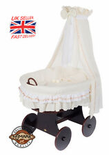 Wicker Crib Moses Basket Lulu TRE CREAM (Cot Bed) with Snuggle Pod by MJMARK !!!
