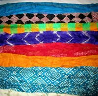 "LOT PURE SILK Vintage Sari Fabrics REMNANT 15 LONG STRIPS 3""-5"" CRAFT DOLL QUILT"