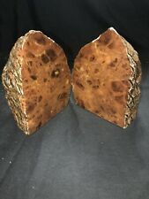 Vintage Pair of Genuine Hand Carved Granite Rock Book Ends Made In Italy RICO