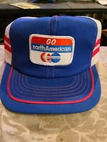 Vintage Go North American,  snapback trucker patch hat / ball cap Red Striped