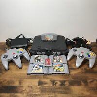 Nintendo 64 N64 OEM Bundle 2 Controllers 5 Games Cleaned Inside & Out Board Pics