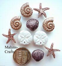 Seashells & Starfish Craft Buttons 1st CLASS POST Sea Shell Holiday Glitter Sand