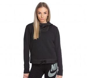 Womans Nike Sportswear Advance Fleece Black Hooded Top (NAH1) RRP £59.99