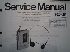 PANASONIC RQ-J9 Stereo Cassette tape Player Service manual wiring parts diagram