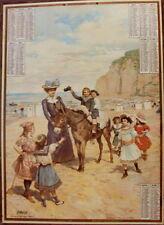 COMPOSITION EN COULEUR CALENDRIER ANNEE 1905 PROMENADE A ANE EN GREVE