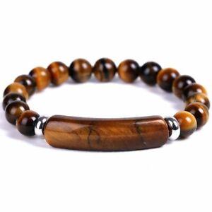 Natural Stone Tiger Eye Beads Bracelet Elasticity Bangle Women Men Jewelry Gifts