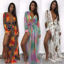 Womens Bikini Summer Beach Dress Kimono Cardigan Lace Sheer Cover Up Long Tops
