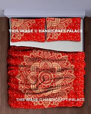 Red Gold Mandala Tapestry Hippie Wall Hanging Cotton Ombre Queen Bedspread Boho