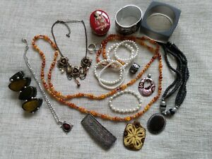 vintage jewellery lot pendants rings bangles necklaces pottery stone enamel clip
