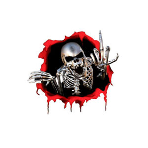 1x 3D Skeleton Skull Car Sticker Auto Side Trunk Middle Finger Decal Accessories