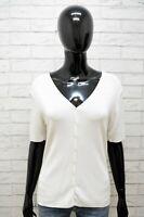 Cardigan Ralph Lauren Donna Taglia M Maglione Pullover Sweater Cotone Bianco