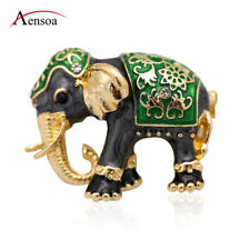 Cute Rhinestone Crystal Enamel Elephant Animal Brooch Pin for Women Jewelry Gift