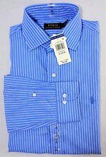 New Mens Polo Ralph Lauren Blue Striped Long Sleeve Dress Shirt 16 32/33