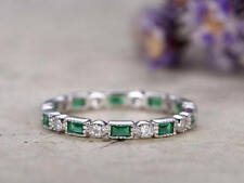 2Ct Baugette Cut Emerald Round Synt Diamond Engagement Ring Silver White Gold FN