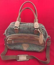 Verdi International Luggage Bag Tweed  Brown Carry On Shoulder Bag Tote Vintage