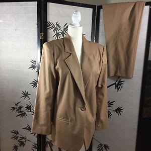 "Sag Harbor 14 Petite 100% Wool Pant Suit Brown Waist 31"" x 27.5 Rise 14 ~ R4CS"