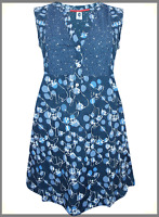Ladies New WHITE STUFF Navy Notch Neck Printed Tunic Top or Dress in Size 8 - 18