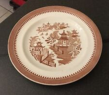 "Antique Royal Worcester Brown Willow Pattern 10.5"" Dinner Plate"