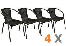 4 x chaises Bistro poly rotin empilable MOKA