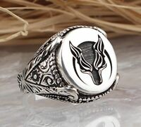Turkish jewelry 925 Sterling Silver WOLF no stone Mens mans ring ALL SİZE us