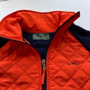 Polo L-RL Active Ralph Lauren Women L Quilted Fleece Jacket Orange Navy Full Zip