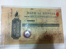 RARE BANK OF BENGAL VIGNETTED  STOCK SHARE CERTIFICATE EMBOSS DIVIDEND BACK 1902