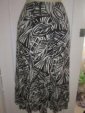 Ladies size 12 Bon Marche black white swishy slits skirt elasticated
