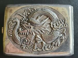 👍1946 CHINA US MARINE CORP PEIPING SOLID SILVER HIGH RELIEF DRAGON CARD CASE纯银盒