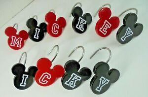 Disney Mickey Mouse Bathroom Shower Curtain Metal Hooks Rings Set of 10