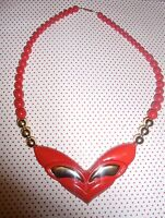 Vintage Beautful 1980s Lipstick Red & Gold Chunky Fashion Pop Bead Necklace