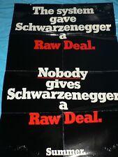 Large Vintage Movie Poster Raw Deal Video Store Folded Schwarzenegger