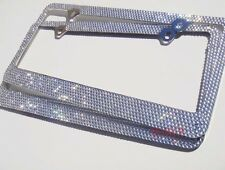 2 X 7 Rows Clear/White Bling Crystal METAL License Plate Frame+ Caps HONDA MAZDA