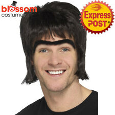 W771 90s Britpop Costume Wig Monobrow Oasis Liam Gallagher Pop Star Boy Band