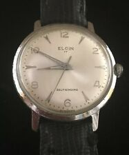 Vtg Elgin Self Wind 17 Jewel Stainless Watch Germany Works RT59