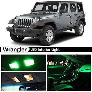6x Green Interior LED Lights Package Kit for 2007-2017 Jeep Wrangler JK