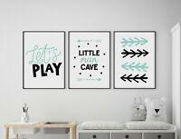 Set of 3 Little Man Cave Arrows Mint & Black Prints Nursery Boys Room Wall Art