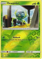 POKEMON SUN & MOON BURNING SHADOWS CARD: DEWPIDER - 14/147 - REVERSE HOLO