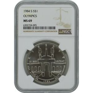1984 S Olympics Commemorative Silver one Dollar Coin NGC MS69