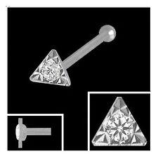 750 Weißgold Nasenpiercing Dreieck 2,5 mm Nasenstecker Kugelstift mit Zirkonia