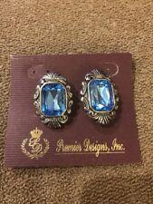 "Clip Earrings $45 (Dc) Premier Designs ""Legacy"" Silver/Blue Toned"