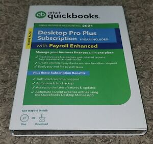 Intuit - QuickBooks Desktop Pro Plus 2021 with Payroll Enhanced (1-Year) Windows