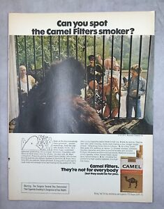 vintage 1970s magazine Ad CAMEL Cigarettes FILTERS SMOKER zoo mancave