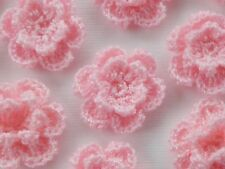 100! Double Crochet Wool Flowers - Peachy Pink Flower Applique Embellishments!