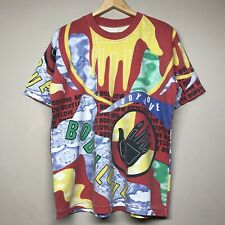 Vintage 90S Body Glove Love All Over Print T Shirt Surf Beach Multicolor Mens L