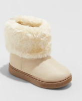 *Cat & Jack Toddler Girls' Opal Fuzzy Convertible Foldover Ankle Boot, Gold