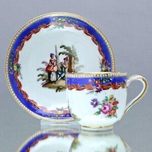 Helena Wolfsohn, Dresden: Mokkatasse, Wickelband, Watteau Szene Blumen cup Tasse