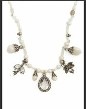 $1095 New Alexander McQueen Faux Pearl, Crystal And Skill Charm Choker Necklace