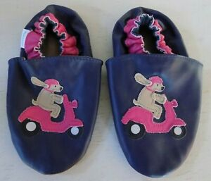 Robeez Leather Girls Blue Pink Dog Scooter Vespa Soft Soles 3-4 Years
