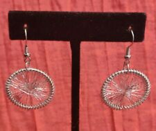Hoop Dangle Drop Earrings Jewelry Statement New listing Small Silver Tone String Web Wheel