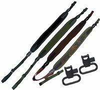 Neoprene Rifle Shotgun Sling Strap + Swivels Air Gun Hunting Shooting Airsoft